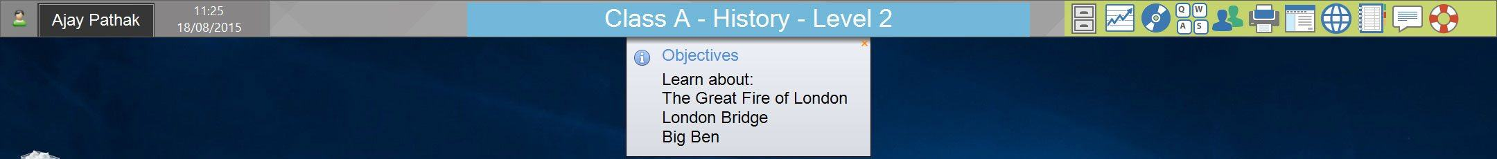 Student Information Bar: display lesson objectives