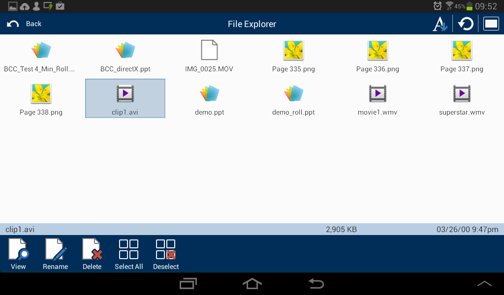 Android Student: File Transfer icon view